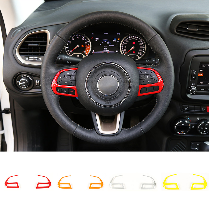 MOPAI ABS Interior Accessories Steering Wheel Button Decoration Cover Trim Stickers For Jeep Renegade 2015 Up Car Styling mopai abs car interior gps panel frame