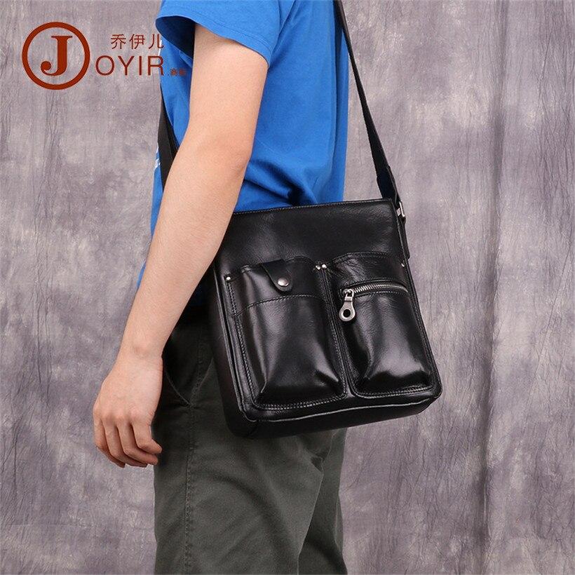 Man Messenger Bag Men genuine Leather Shoulder Bags Business Crossbody male Casual black Bag Men's Zipper vintage men's bags