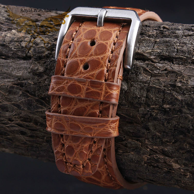 2014 New Style 21mm 22mm Handmade Orange Genuine Alligator Leather Watch Strap Band Brushed Silver Stainless
