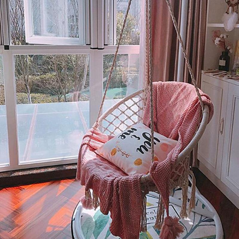 Nordic Стиль ручной вязки круглый Гамак Крытый общежитии Спальня детей качели кровать детская один стул Декор гамак