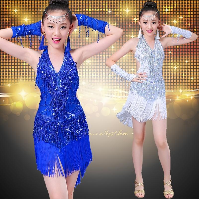 New Sequins Tassel Latin Dance Dress For Girls Ballroom Dance Competition Dresses Child Kids Samba Costume Salsa Dress