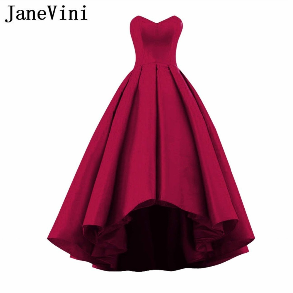 JaneVini 2018 Простой Высокий Низкий длинный атласный бордовый платья подружек невесты для Для женщин Милая спинки длиной до пола Длина выпускно