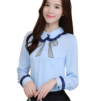 Autumn Winter Blouse Fashion Shirt Printed Blue Women Tops Ruffles Patchwork Long Sleeve Chiffon Blouses Peter
