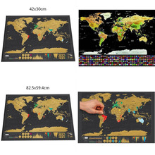 все цены на Deluxe Erase Black scratch map world wall sticker Decoration Scratch Poster Mini Foil Layer Coating Travel Edition Journal Home онлайн