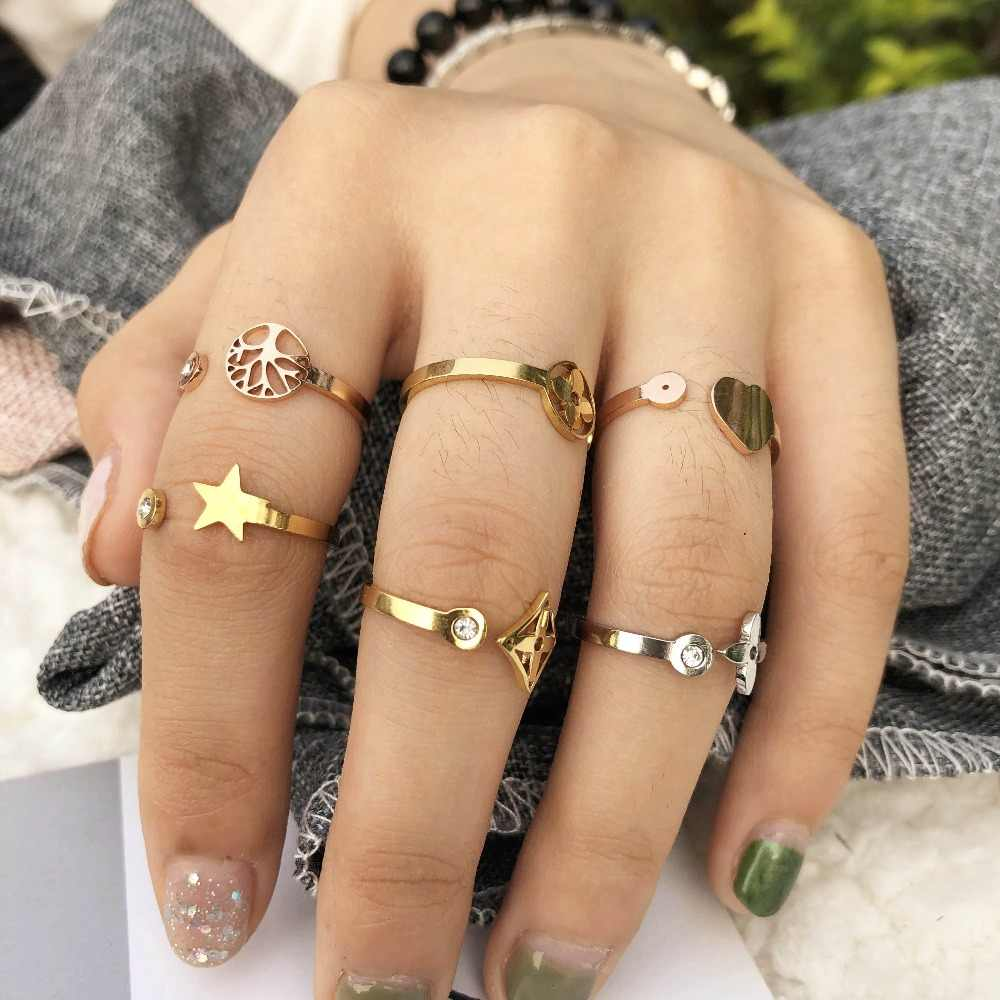 engagement love life tree clover star ring Zircon ring  opening stainless steel ring female jewelry kpop accessories