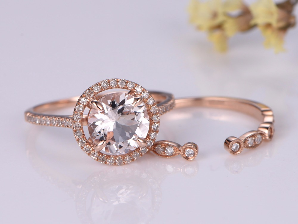 gold view ultra attachment simple diamond thin band rose ring with gallery wedding of dainty bands full rings brilliant