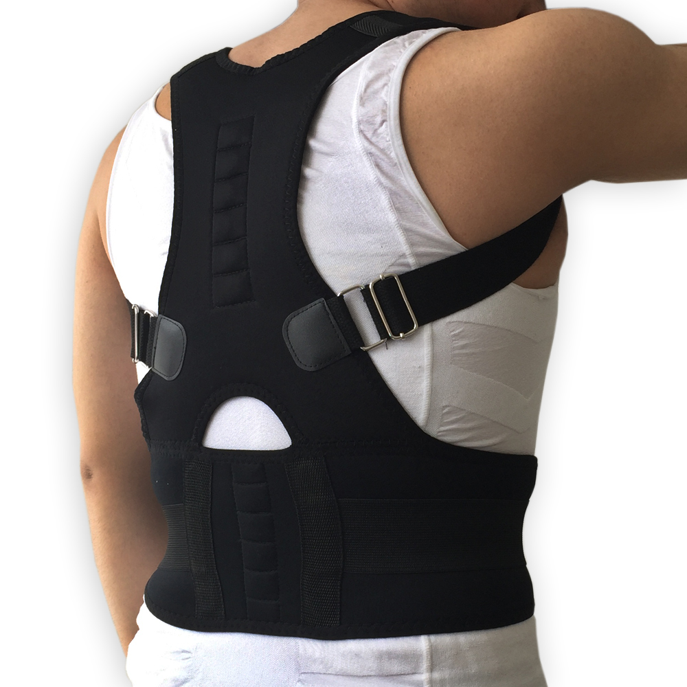 2018 Neoprene Back Corset Brace Straightener Shoulder Back Belts Spine Support Belt for Men Women New Magnetic Posture Corrector