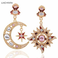 Small Bead Asymmetrical Moon And Sun Disc Pendant Earring For Fashion Lady From NCHRAN Professional Statement
