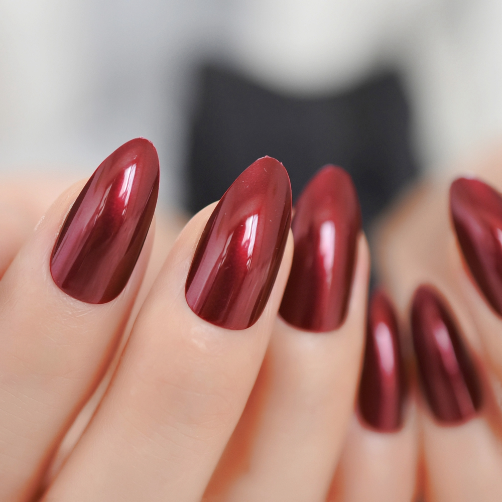 Appealing Wine Red Acrylic Nail Tips Stiletto Full Cover