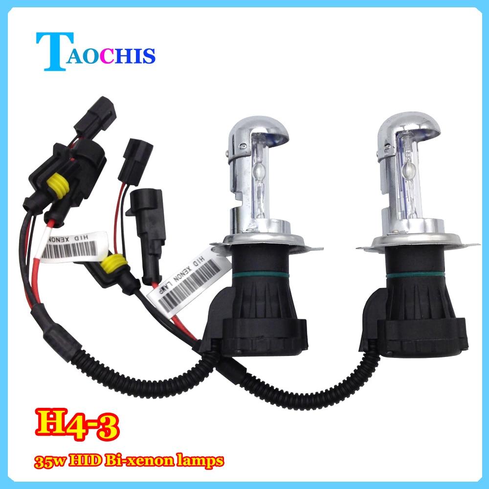 TAOCHIS 12v 55w Car HID Headlight H4-3 Bi-Xenon Hi/Lo replacement bulbs 43000k 6000k 8000k head lamps Telescopic lights 2pcs 9007 4 12v 55w hid bi xenon bulbs light replacement auto headlight lamps