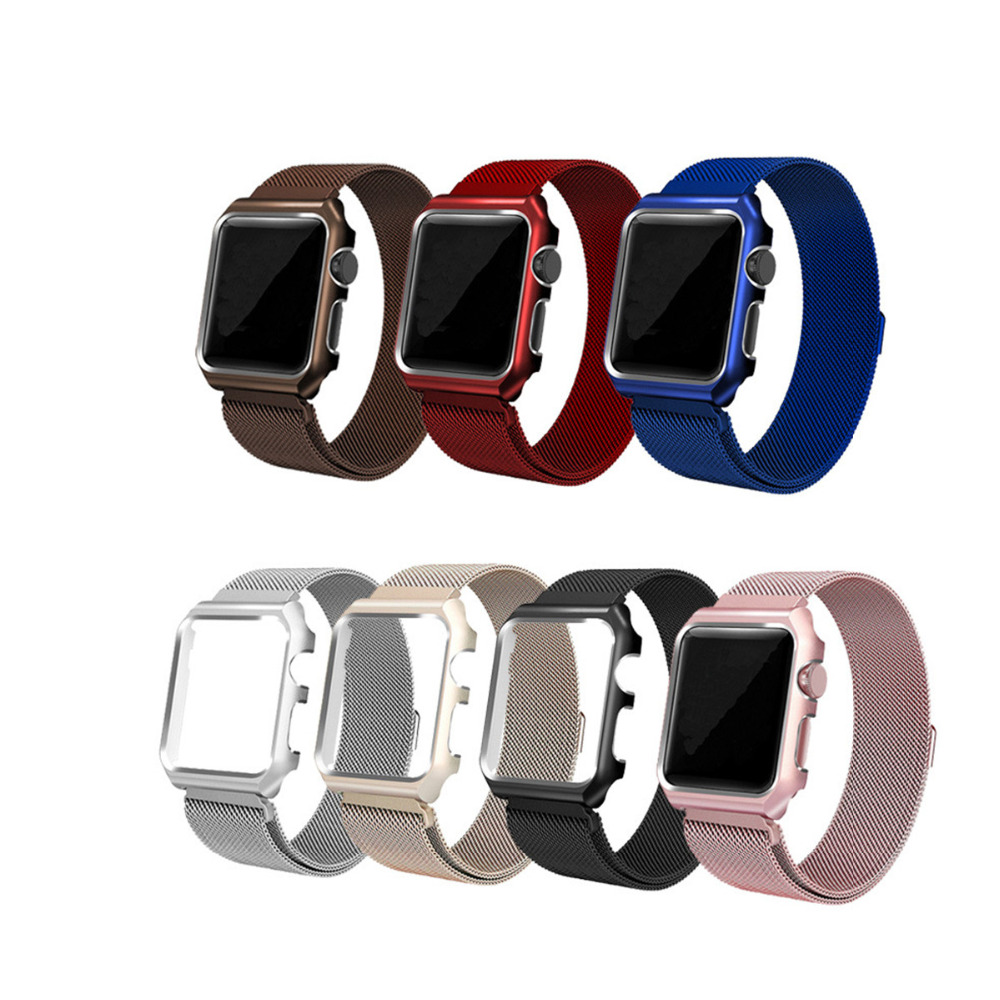 LNOP Milanese Loop Strap For Apple Watch band 42mm/38mm iwatch 3 2 1 wrist band Link Bracelet Stainless Steel band with case