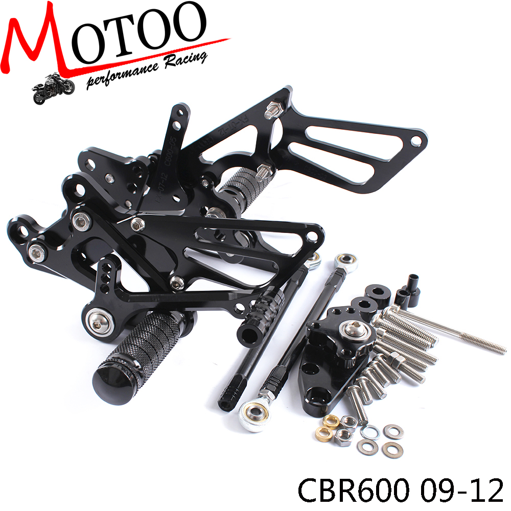 Full CNC Aluminum Motorcycle Adjustable footrest footpeg Rearsets Rear Sets Foot Pegs For <font><b>HONDA</b></font> CBR600RR NON-ABS 2009-2017 image