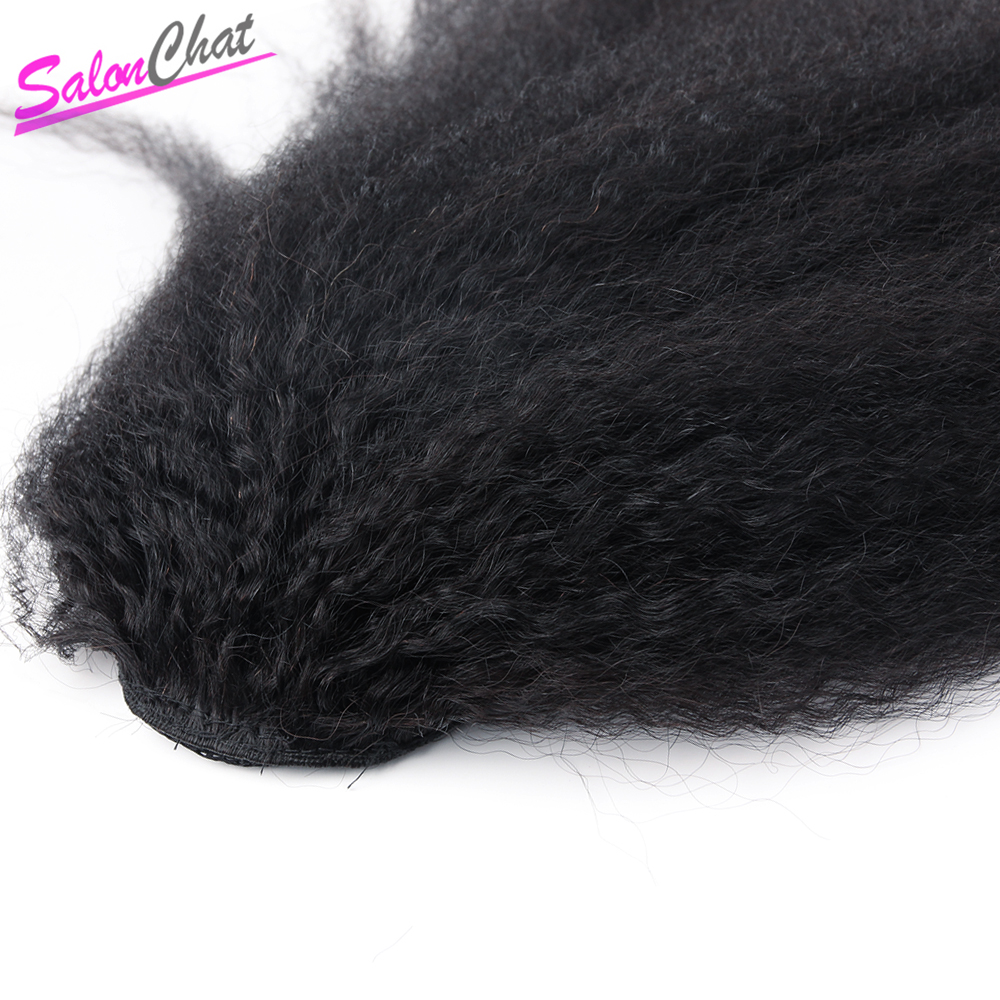 Kinky Straight Brazilian Human Hair Drawstring Ponytail Clip In Hair Extension Coarse Yaki Natural Color Remy