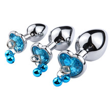 Stainless Steel Medium Size Heart Metal Anal Plug With Bell Crystal Pendant Butt Plug Prostate Massager Sex Toys For Woman Men