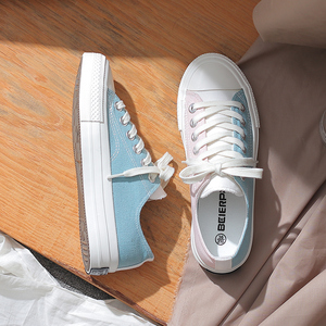 Image 3 - Fashion Shoes Woman 2019 Summer New Fashion Women Shoes Casual Flats Patchwork Canvas Women Casual Shoes Color Sneakers