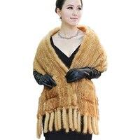 Natural Mink Fur Scarves Knitted Women Luxury Winter Fur Scarves Pockets Pashmina Wraps Female Russian Mink Fur Shawl Tassels