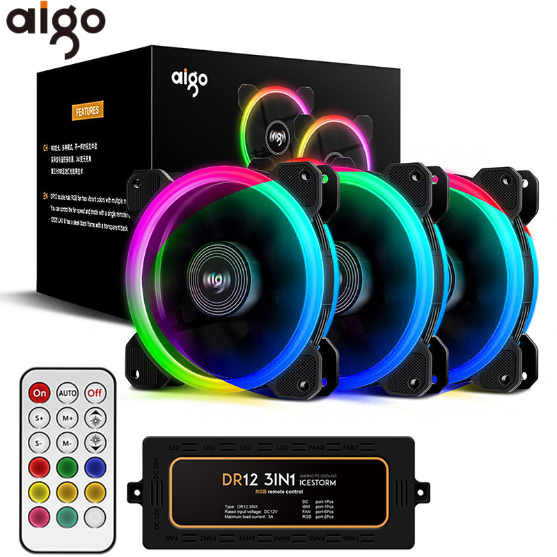 Aigo DR12 Computer PC Case Fan 12V Led Adjustable Cooling RGB Fan with IR Remote Control Silent 120mm CPU Cooler PC Gamer Fan gdstime 10 pcs dc 12v 14025 pc case cooling fan 140mm x 25mm 14cm 2 wire 2pin connector computer 140x140x25mm