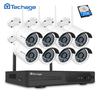 Techage Wifi CCTV System 8CH 1080P HD Wireless NVR Kit Outdoor IR Night Vision Home Security