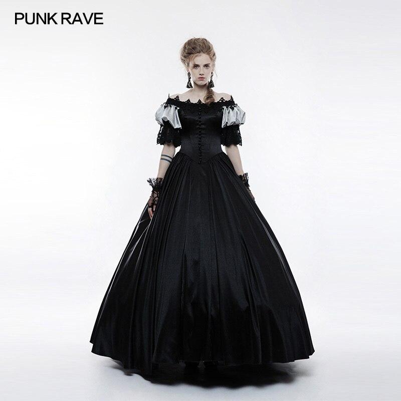 2018 nouveau design victorien Vintage Pinup Palace longue robe Maxi noir Cosplay fête vêtements Sexy dentelle WQ356