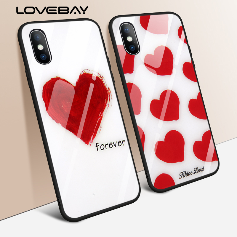 Lovebay Love Heart Forever Print Pattern Tempered Glass Couple Phone Cases For iPhone X 8 7 6 6s Plus Chic TPU+PC Cover Case
