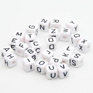 """Image 2 - Acrylic Letter Hạt 550 Cái """"AZ"""" Alphabet Thư Cubic Hạt Trắng 10x10 mét Bé Teether Vòng Cổ & Pacifier Clip Spacer"""