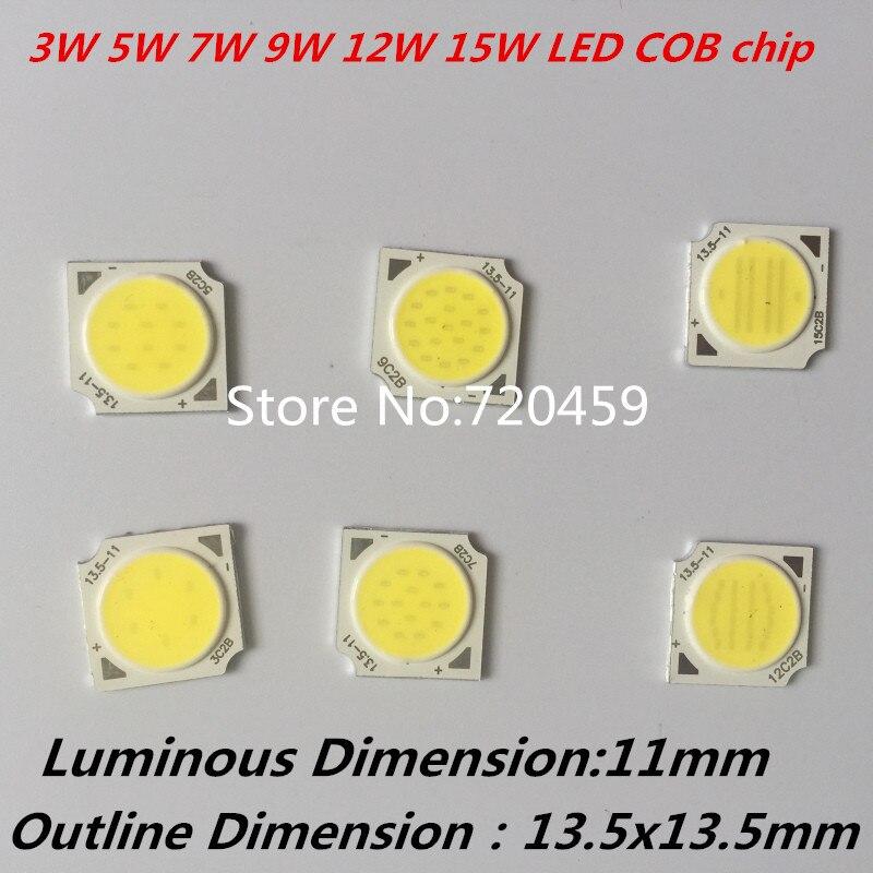 High Power 3W 5W 7W 10W 12W COB LED Chip Light Source for Spotlight, Ceiling light, Downlight White ,Warm White