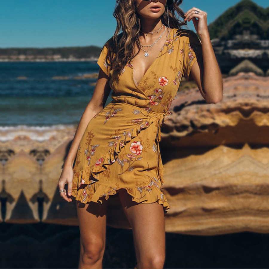 Женское летнее повседневное платье в богемном стиле с коротким рукавом v
