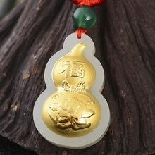 Natural White Hetian Jade Pendants + 18K Solid Gold Inlaid Chinese  Lucky Pendant Free Necklace Fine Jewelry dropshopping