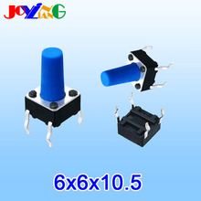 JOYING LIANG Blue 6 * 10.5 MM Vertical Four-foot Touch Switch 4 PIN Small Key Switches 6x6x10.5mm Copper Foot 10pcs/lot