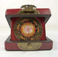 handwork old china wood usable compass with box paint dragon phoenix Boxes metal handicraft