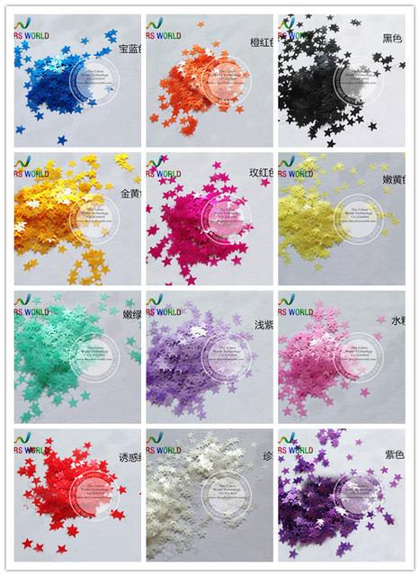 12 forma de estrella de neón ultra delgado y nacarado colores para el clavo y el arte DIY decora tamaño : 3 MM 1 Pack = 12 * 10 g = 120 g