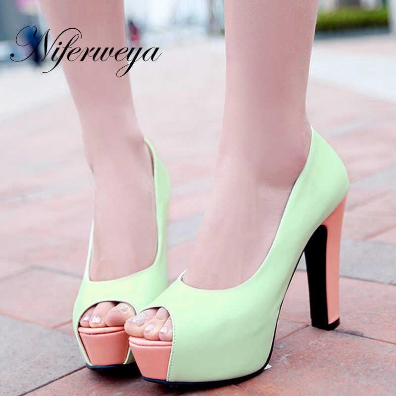 Spring/Autumn Sexy women Peep Toe pumps big size 33-43 women shoes fashion Mixed Color Slip-On platform high heels zapatos mujer стоимость