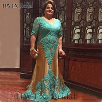 Turquoise Lace Plus Size Mother Of The Bride Dresses For Weddings Short Sleeve Champagne Tulle Long 2018 Prom Dress Evening Gown