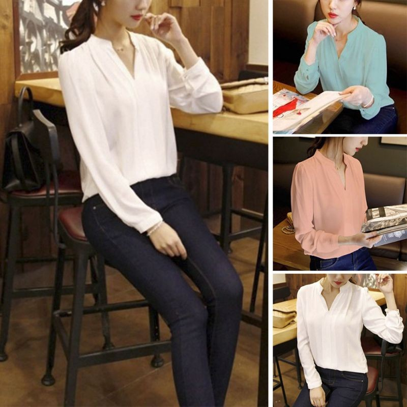 HTB1LxMANVXXXXXhXXXXq6xXFXXXj - Women Chiffon Blouse Ladies V-neck Long Sleeve Shirt
