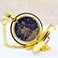 Luxo de Ouro Moda Sailor Moon Anime Desenhos Animados figura brinquedo Relógio de Bolso de Quartzo Analógico Colar Pingente Menina Das Mulheres Relógios