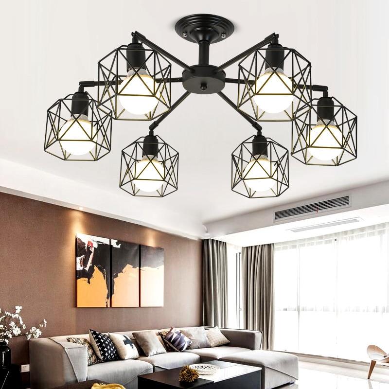 US $70.99 19% OFF|Moderne Kronleuchter Metall Schwarz Käfig Decke Lampe  Nordic Leuchten Küche luminiare Schlafzimmer Wohnzimmer Home Beleuchtung ...