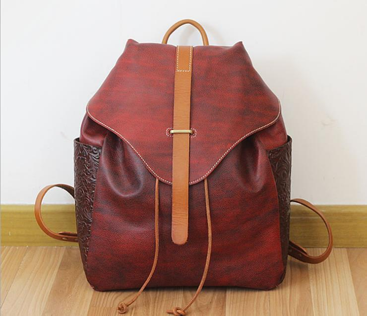 Fashion Preppy Style Women Backpack Solid Genuine Leather Travel School Bag Famous Brand Design Embossing Bag Rucksack Backpack miwind famous brand preppy style leather school backpack bag for college simple design travel leather backpack bags tlj1082