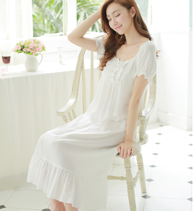 b170e1abb10 Free Shipping 100% Cotton New Summer Princess Nightdress Long White Pijamas  Women s Nightgown Sleepwear Ladies negligee-in Nightgowns   Sleepshirts  from ...