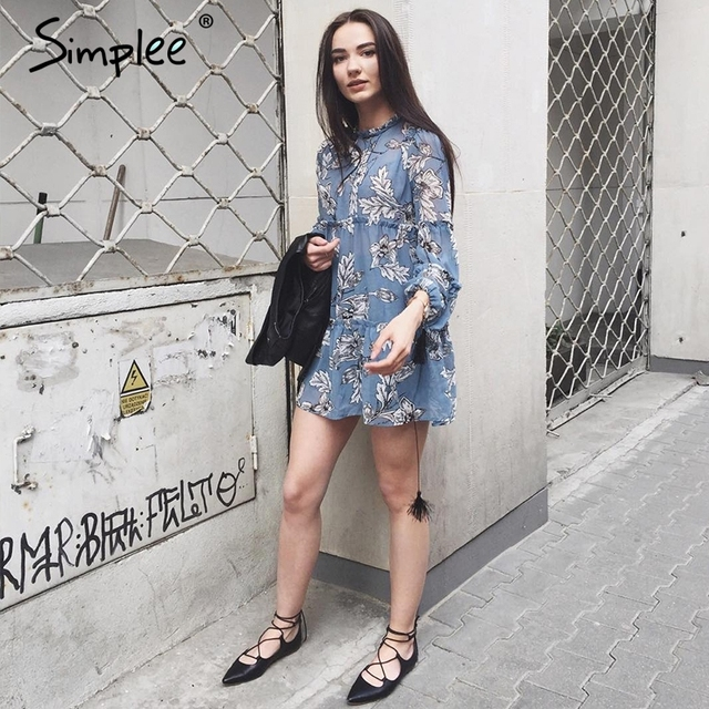 Simplee Boho floral print tassel women dress Autumn winter long sleeve ruffle chiffon dress Vintage loose short dress vestidos
