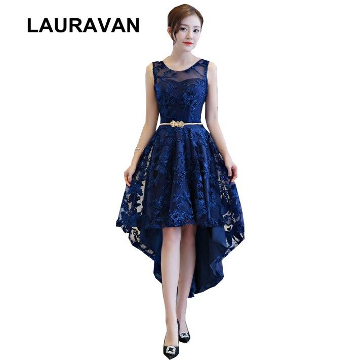 Femmes formel bleu haut bas court avant long dos noir robe de bal dames robes de soirée pour les filles occasions spéciales robes de mariée