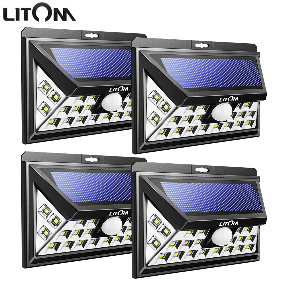 LITOM SUPER BRIGHT LED Solar Powered Lights Lamp Outdoor Wireless Motion Sensor Lighting Security Waterproof Wall Spotlights emergency auto led solar panel double head lights motion sensor outdoor garden waterproof lamp spotlights super bright lighting