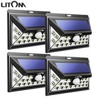 LITOM SUPER BRIGHT LED Solar Powered Lights Lamp Outdoor Wireless Motion Sensor Lighting Security Waterproof Wall Spotlights