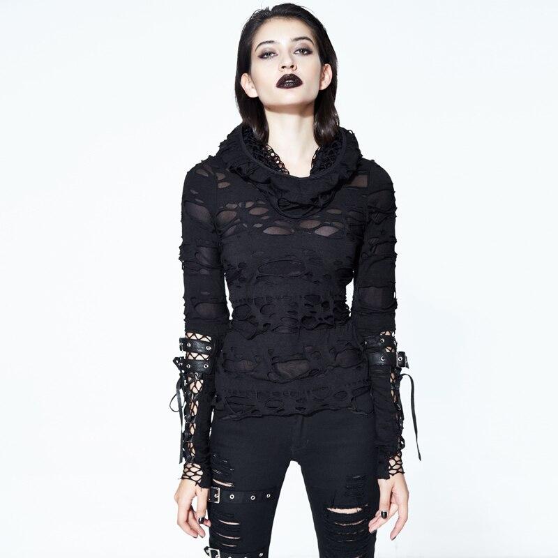 Steampunk Style gothique T-Shirt noir creux trou creux chemise décontracté col haut dames T-Shirt serré à manches longues chemise