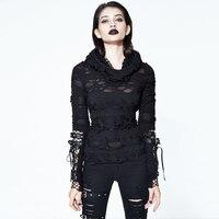 Steampunk Gothic Style T Shirt Black Hollow Hole Hollow Shirt Casual High Collar Ladies T Shirt Tight Long Sleeved Shirt