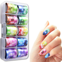 10 Rolls Holographic Nail Foils Mixed Pattern Shiny Art Transfer Sticker Decal DIY Image Tips Decorations