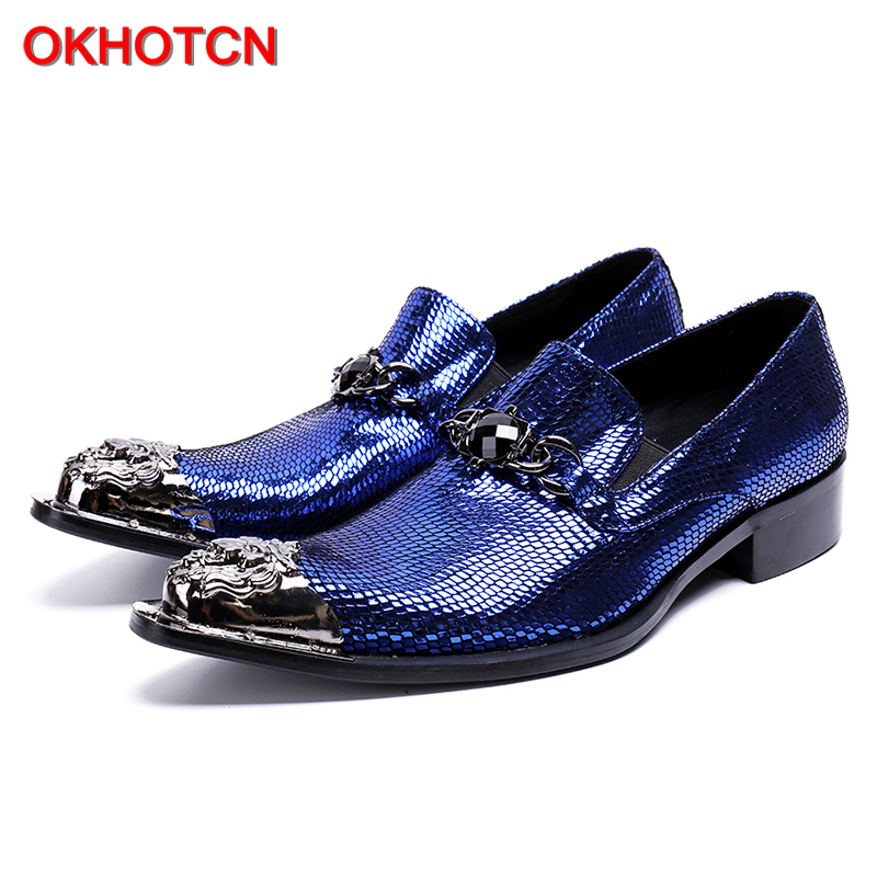 Metal Decor Men Genuine Leather shoes fashion blue Slip On Mens Wedding Dress Shoes Metal Toe Business Leather Shoe Flats