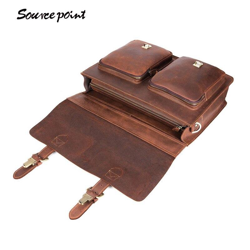 Yishen Handtaschen griff Aktentasche Brown Brown Portfolio Top Retro Umhängetasche Aus Geschäfts Tasche Schulter Echtem Leder Männer 88 Yd dark rHzwqrSE