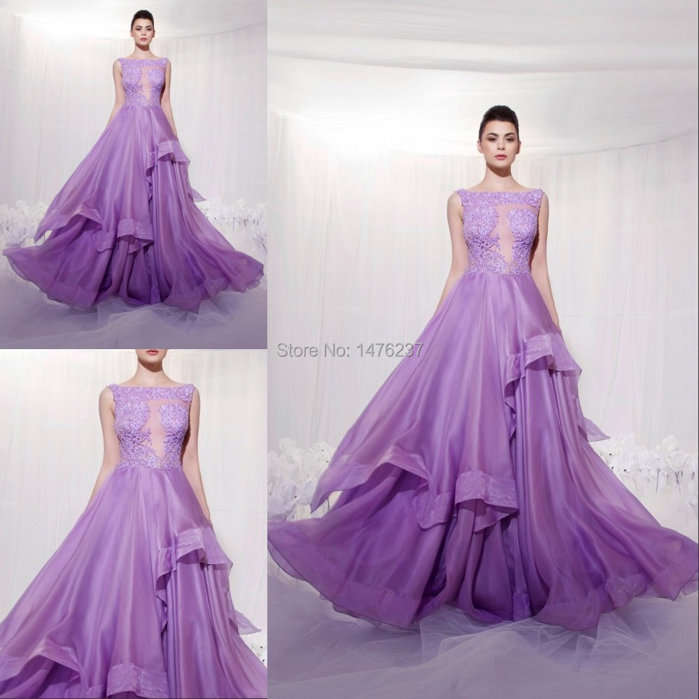 Good Quality Purple With Lace High Neck Off Shoulder Floor