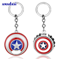 20pcs/lot HSIC Captain America 3 Bottle Opener Keychain Multifunction Key ring Holder Metal Shield For Fans Souvenir