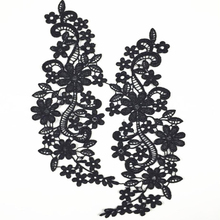20Pieces White Black Venice Lace Applique Floral Accessories Water Soluble Fabric Patches For Gowns Costumes Hair Pieces